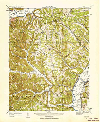 YellowMaps Piketon OH topo map, 1:62500 Scale, 15 X 15 Minute, Historical, 1915, Updated 1959, 20.8 x 17 in - Polypropylene