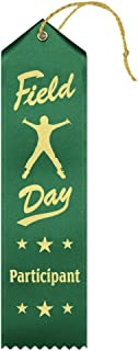 Field Day Participant Ribbons - 50 Count Value Pack with Card & String Metallic Gold foil Print – Made in The USA