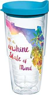 Tervis 1216835 Florida-Sunshine State of Mind Insulated Tumbler with Wrap and Turquoise Lid, 24 oz, Clear