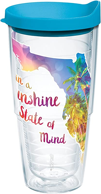 Tervis 1216835 Florida Sunshine State Of Mind Insulated Tumbler With Wrap And Turquoise Lid 24oz Clear