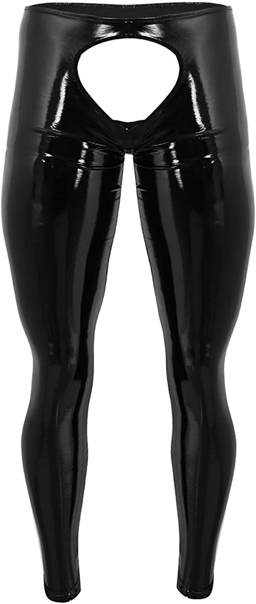 Hedmy Men's Wet Look PVC Leather Open Pouch Backless Tights Pants Leggings Long Trousers