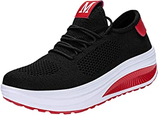 QueenMMWalking Shoes Wedges Platform Sneakers Comfortable Breathe Mesh Lace up Air Cushion Running Tennis Shoes for Women