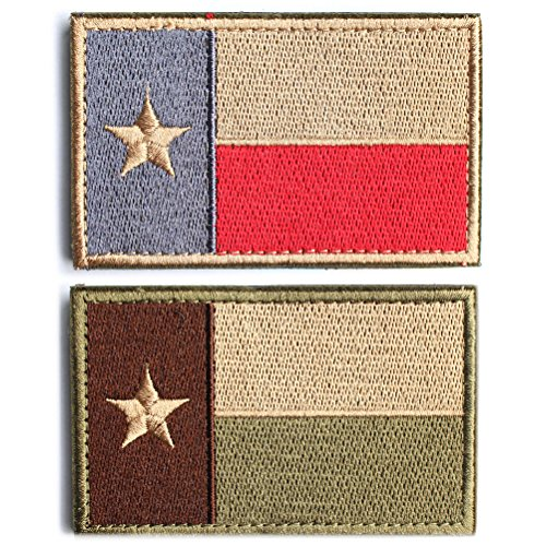 Bundle 2 Pieces - Tactical American US Texas Lonely Star Flag Patch With Backing Multi Tan Subdued Silver Decorative Embroidered Appliques 2 High By 3.2 Wide