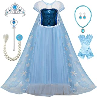 TTMOW Snow Queen Princess Elsa Costumes Birthday Dress Up for Little Girls with 6 Packs Accessories