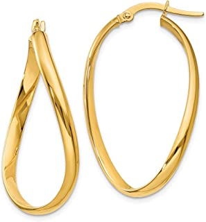 14kt Yellow Gold Twisted Oval Hoop Earrings