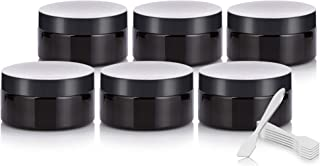 Black PET Plastic (BPA Free) Refillable Low Profile Jar - 8 oz (6 Pack) + Spatulas