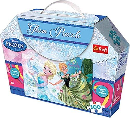 Trefl - 14811 - Glam Puzzle - Disney Frozen - Anna et Elsa - 100 Pièces