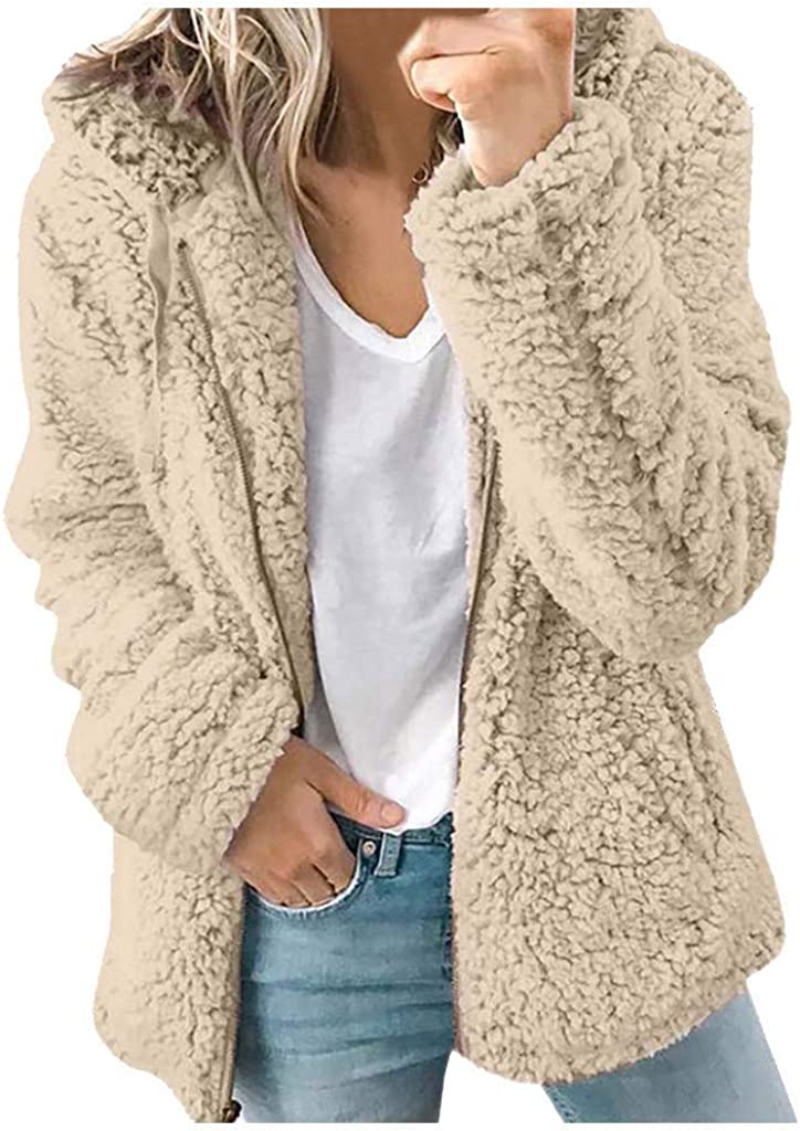 WUAI-Women Casual Sherpa Fleece Jacket Hoodies Full Zip Faux Fuzzy Long Sleeve Fluffy Fleece Sweatshirt Outwear