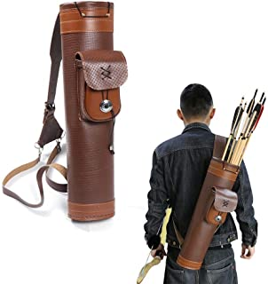 TOPARCHERY Traditional Shoulder Back Quiver Bow Leather Arrow Holder with Large Pouch..
