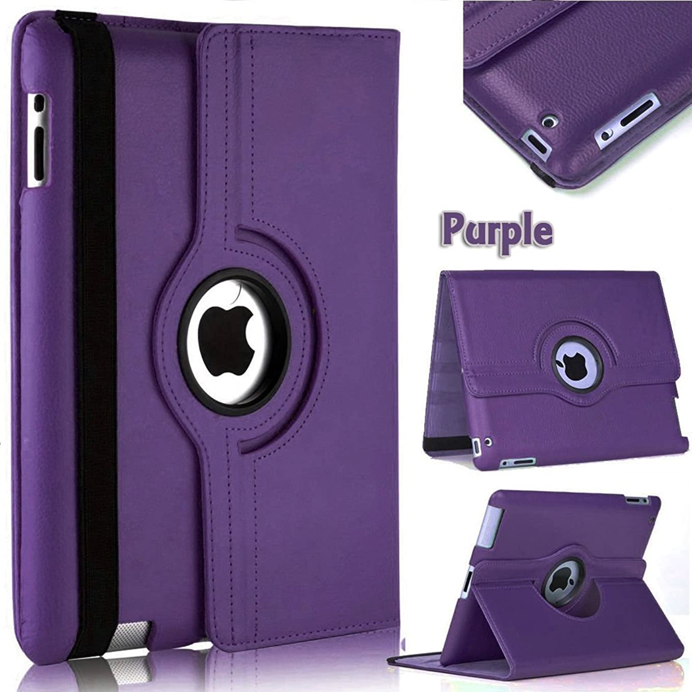 Mecasy_iPad Mini 1 2 3 360 Degree Rotating Stand Leather Case Cover with Auto Sleep USA Seller (Purple) ew3750970653880