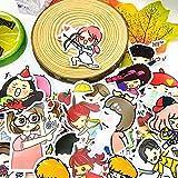 BLOUR 40 Uds Linda Pegatina de Dibujos Animados de niña pequeña Impermeable para Libro portátil Moto monopatín...