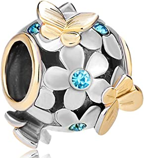 Butterfly Flower Jan-Dec Simulated Birthstone Charm Beads