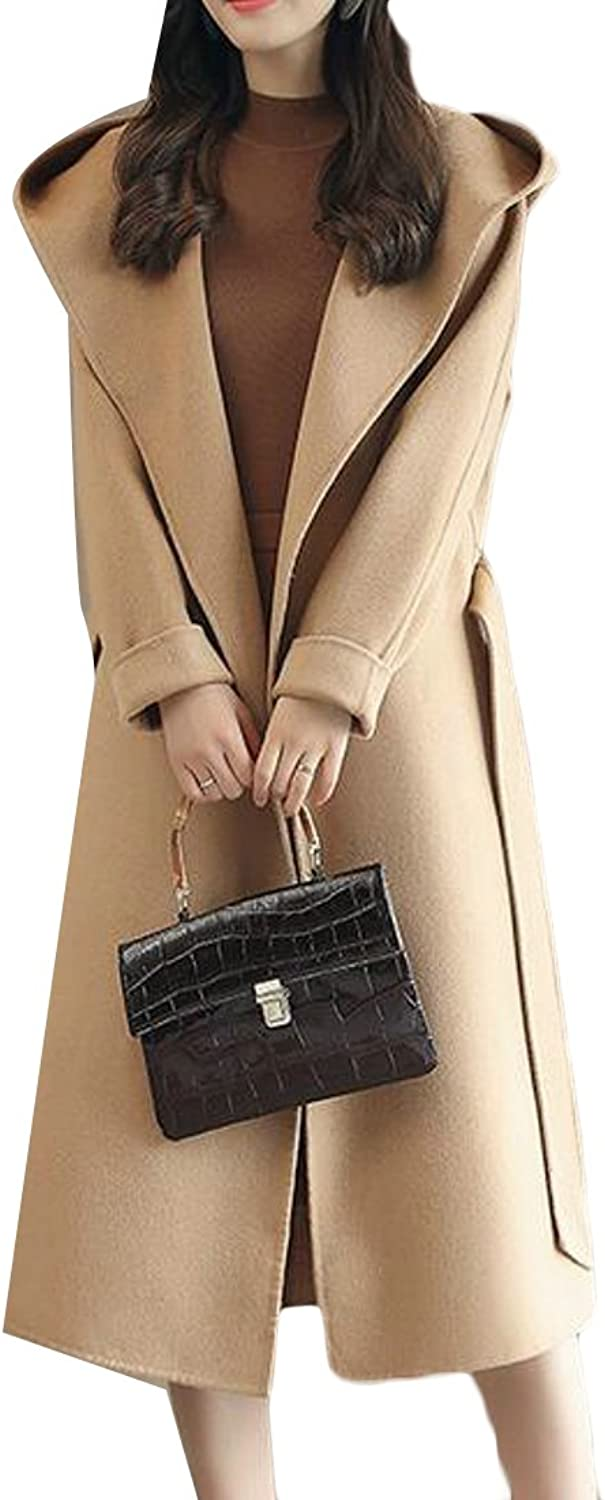 Fulok Womens Loose Open Front Hooded Wool Blend Solid Long Pea Coats