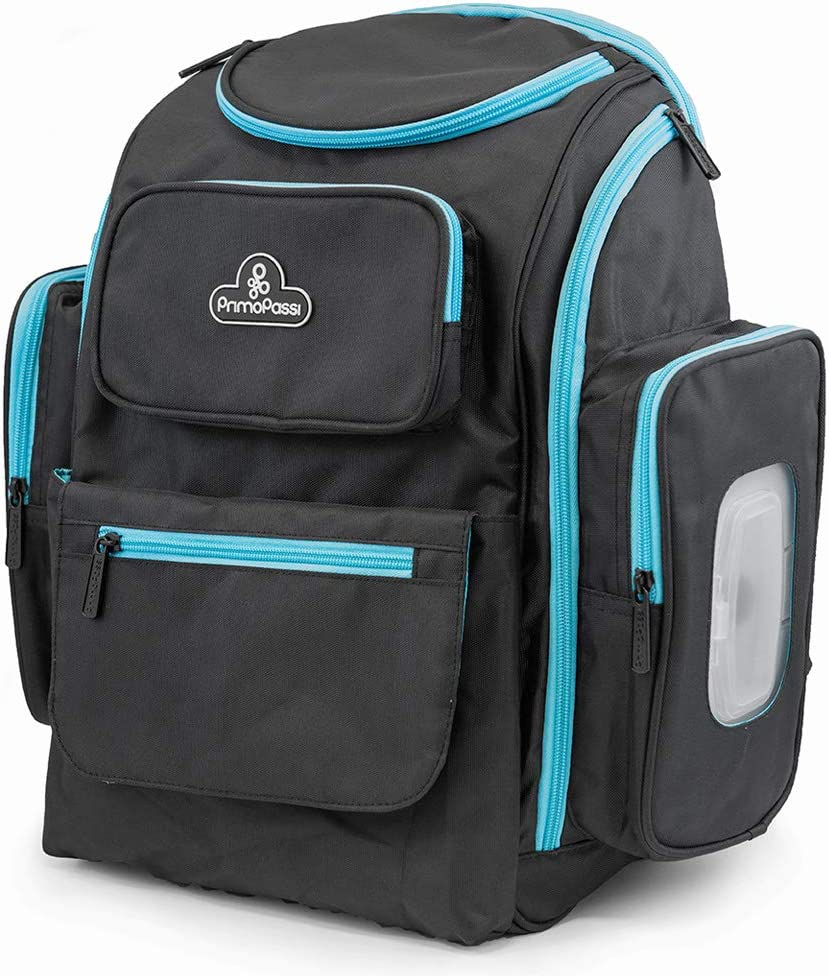 Primo Passi Baby Diaper Bag Travel Backpack with Insulated Pockets, Wipes Case, Changing Pad, and Stroller Straps (Blue)