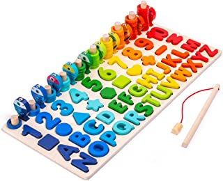 Wooden Number Puzzle Game Montessori Toys for Toddlers - Fishing Game Math Toy for Age 2 3 4 5 6 Years olds Kids - Prescho...
