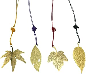 yueton?4pcs Vintage Golden Metal Leaf Maple Leaves Bookmark with Color Knotting Strap, Great Gifts