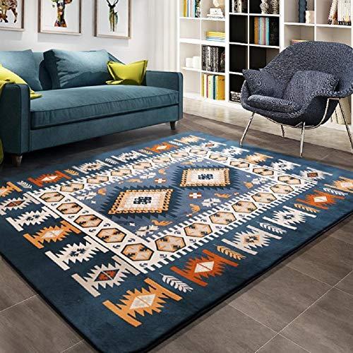 FD2LB1NVL Mediterraner Teppich, groß, für Wohnzimmer/Schlafzimmer, rechteckig, Blau, 100×150cm