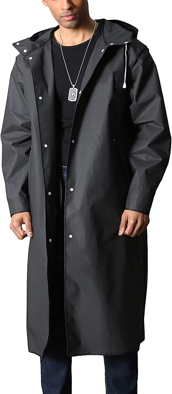 MAGCOMSEN Men's Long Raincoat Waterproof Reusable Hiker Rain Poncho With Hood Fishing Rain Jacket Rainwear