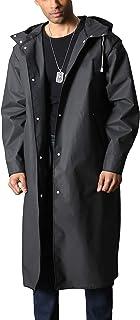 MAGCOMSEN Men's Long Raincoat Waterproof Reusable Hiker Rain Poncho with Hood Trekking Fishing Rain Jacket Rainwear