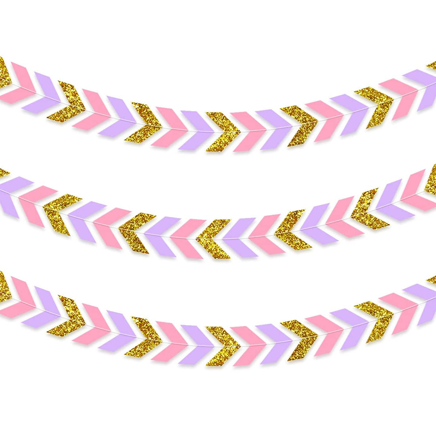 NICROLANDEE 3pcs Spring Wedding Paper Garland Pink Purple Tribal Banner Gold Glitter Arrow Banner Chevron Design for Womens Birthday Bridal Shower Wedding Valentines Baby Shower Party Decorations Wall