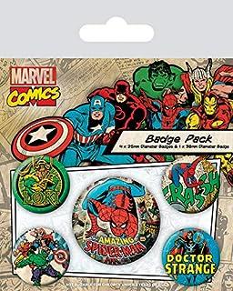 Pyramid International Marvel Retro Spider-Man Badge, Multicolore, 4 x 25 mm & 1 x 38 mm