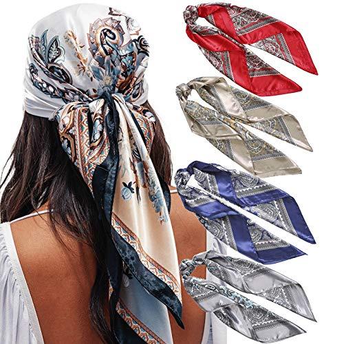 "35"" Satin Large Square Head Scarves - 4PCS Silk Like Neck Scarf Hair Sleeping Wraps Lightweight Satin Silk Scarfs for Women (Cashew patterns)"