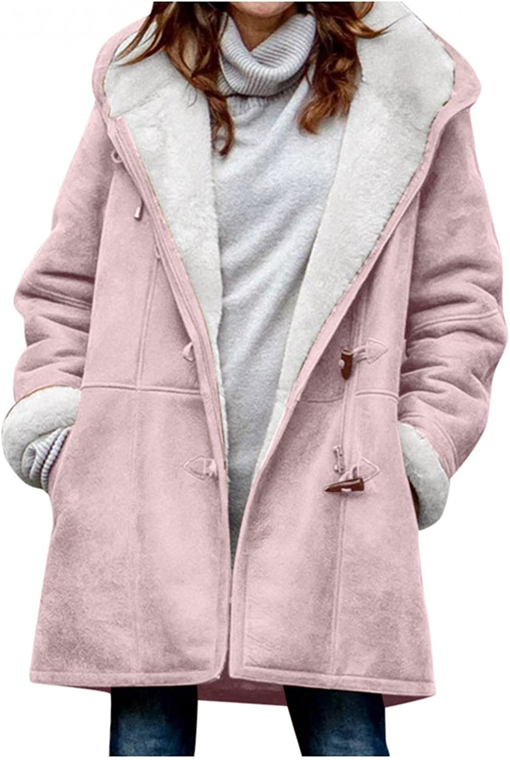 CCOOfhhc Womens Winter Warm Coats Plus Size Sherpa Fleece Lined Hooded Jackets Button Down Solid Thicken Warm Parkas Pea Coat