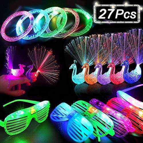 EPCHOO LED Party Zubehör Mitbringsel Blinkt Partyspielzeug Kinder, 27 Stück Bunt leuchtspielzeug mit 15 Fingerlichter 8 Blinkende Brille 4 Leuchten Armbänder für Weihnachten Weihnachten