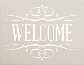 "Welcome Stencil by StudioR12 | Reusable Mylar Template | Serif Word Art - for Painting on Rustic Wood - Farmhouse Country | Use for Crafting, DIY Home Decor - STCL1006_2 Select Size (11"" x 8.5"")"