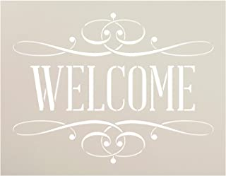 Welcome Stencil by StudioR12 | Reusable Mylar Template| Serif Word Art - for Painting on Rustic Wood - Farmhouse Country | Use for Crafting, DIY Home Decor - STCL1006_2 Select Size (11