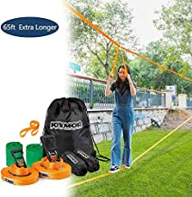 JOYMOR Slackline Kit Extra Longer 65 Feet, Upgraded Slackline with Training Line, Ratchet, Ratchet Protector, Tree Protector, Perfect Arm Trainer for Kids and Adults