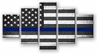 VIIVEI American Flag Canvas Print Wall Art Black and White Thin Blue Line Home Decor Decals Pictures for Living Room 5 Panel Poster Painting Framed Ready to Hang (50