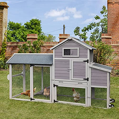 Chicken Coop with Run Outdoor Hen House with Large Nesting Box Poultry Cage on Wheels , Movable