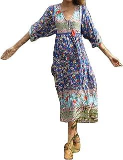 Runyue Womens Boho Beach Dresses Floral Tribal Print V Neck Summer Dress