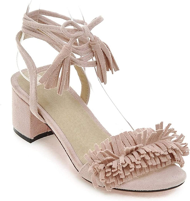 Fashion Ankle Strap Women Sandals med Heel Sweet Solid color Summer shoes