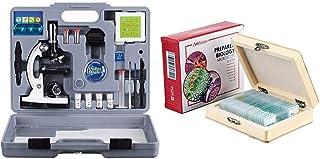 AmScope 120X-1200X 52-pcs Kids Beginner Microscope STEM Kit with Metal Body Microscope, Plastic Slides + PS25 Prepared Microscope Slide Set for Basic Biological Science Education, 25 Slides