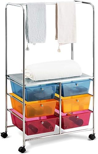 discount Giantex 6 Drawer Storage Cart, Office School Organizer Cart, Rolling Drawer Cart for Tools, 2021 Scrapbook, Paper sale or Bathroom, Storage Shelf (Blue,Orange & Red) online sale