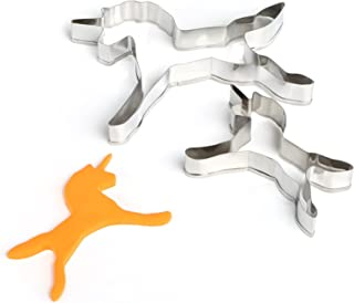 GWHOLE Cookie Cutters 2 Pack Animal Unicorn Mini Cookie Cutter Set Plastic Caking Stripping Knife