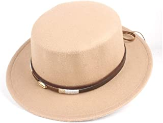 WUNONG-AU Men's and Women's Authentic Western Cowboy hat, Fashion hat Leather Belt Cap, Jazz hat, roll-up hat, Wide hat, Jazz hat (Color : Khaki, Size : 56-58)
