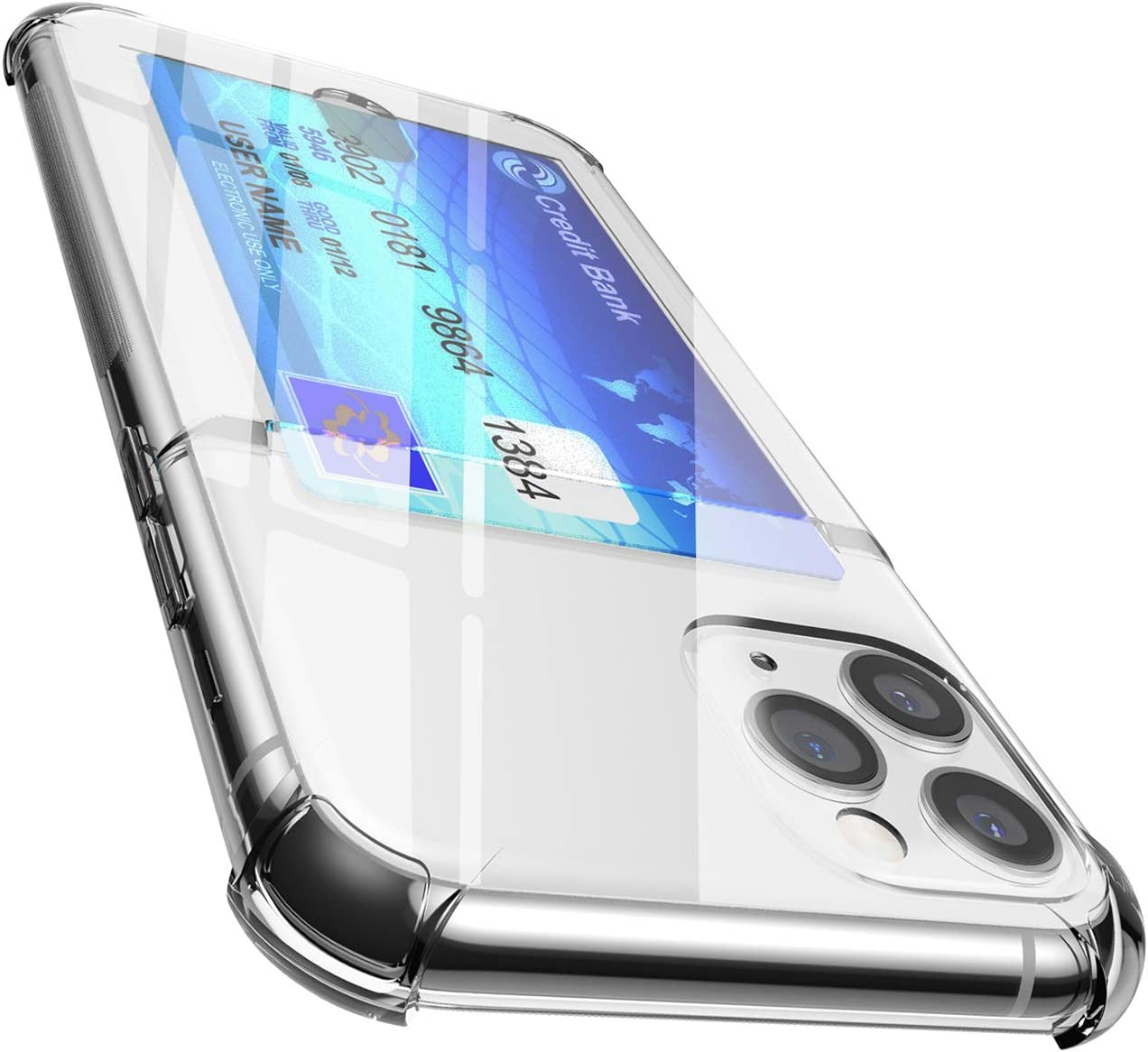 ANHONG iPhone 11 Pro Clear Case with Card Holder, [Slim Fit][Wireless Charger Compatible] Protective Soft TPU Rubber Gel Shock-Absorbing Wallet Case for iPhone 11 Pro 5.8 Inch (2019)