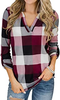 Womens Plaid Leopard Blouse V Neck Roll-Up 3/4 Sleeve Cotton Casual Tunic Shirts Tops