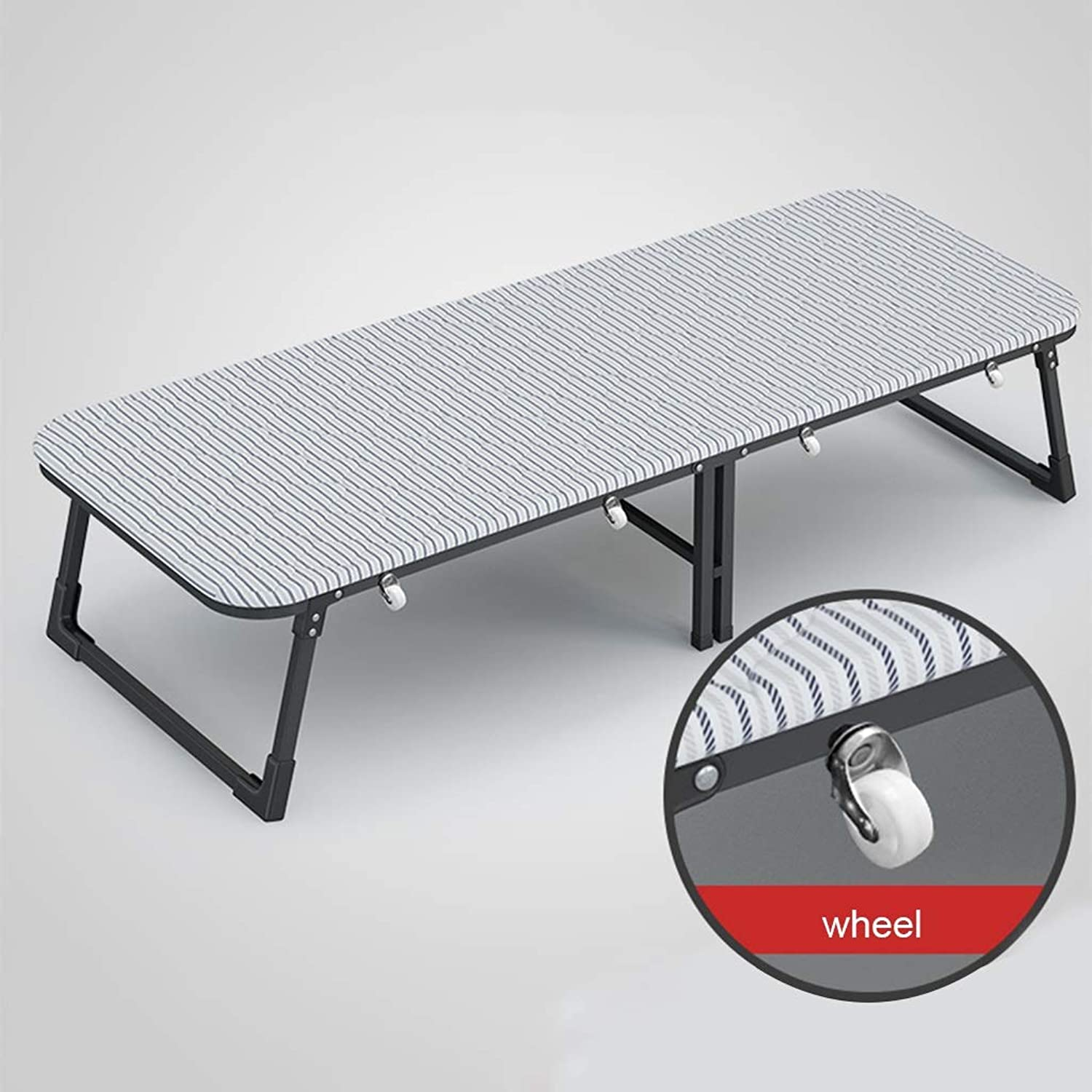 Single Folding Bed Frame with Wheels, Portable Rollaway Bed for Office Lunch Break Camping, Heavy Duty Hardwood Bed (Size   60×185cm)