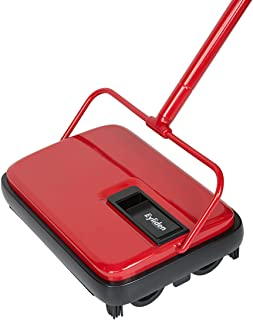 Eyliden Carpet Floor Sweeper Hand Push Automatic Compact Broom 4 Corner Edge Brushes Red&Black