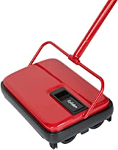 Eyliden Carpet Sweeper, Hand Push Carpet & Floor Sweepers, Non-Electric Easy Manual Sweeping, Automatic Compact Broom with 4 Corner Edge Brush for Carpeted Floors Cleaning (Red)