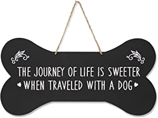 """LifeSong Milestones Pet Quote Dog Bone Wall Hanging Sign, Dog Lovers Gifts for Women, Dog Owner Gift for Home Decor, 8"""" x 16"""" (Black The Journey)"""