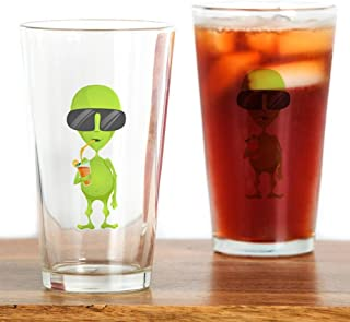 Pint Drinking Glass Little Green Alien Sipping a Drink