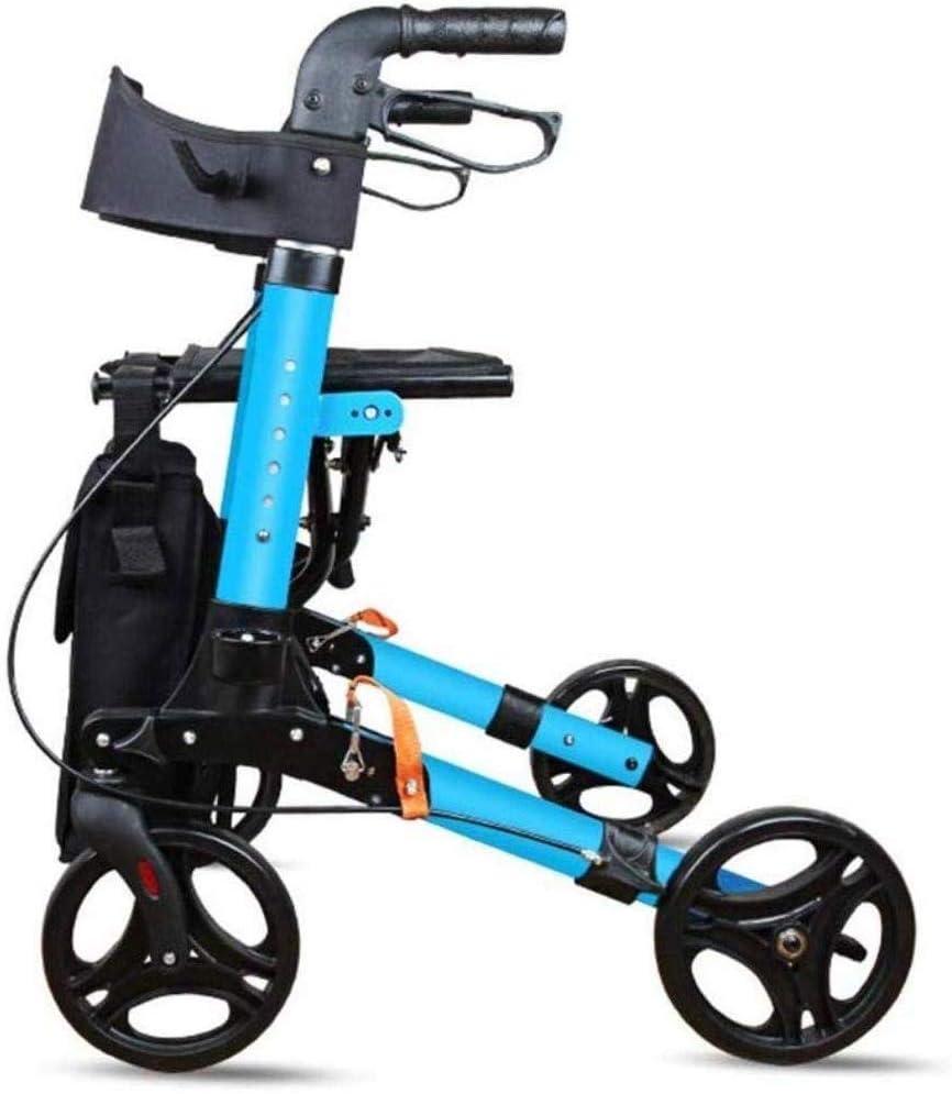 DFJU Andador con Andador Plegable para Silla de Ruedas, Sistema de Freno Doble, Ayuda de Movilidad médica Plegable con Asiento y Bolsa para Adultos, Personas Mayores, Ancianos