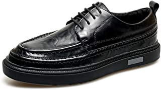 Leather Casual Oxford for Men Dress Shoes Lace up Genuine Leather Platform Round Toe Rubber Sole Stitching shoes (Color : Black, Size : 38 EU)