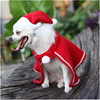 Christmas Pet Costume Set Xmas Santa Hat Cloak Xmas Party Gift for Puppy Kitten Small Cats Dogs Pets 2 Pcs