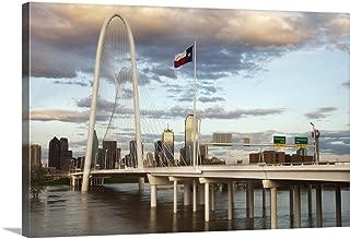 Dallas Skyline with Margaret Hunt Hill Bridge, Texas Canvas Wall Art Print, 48